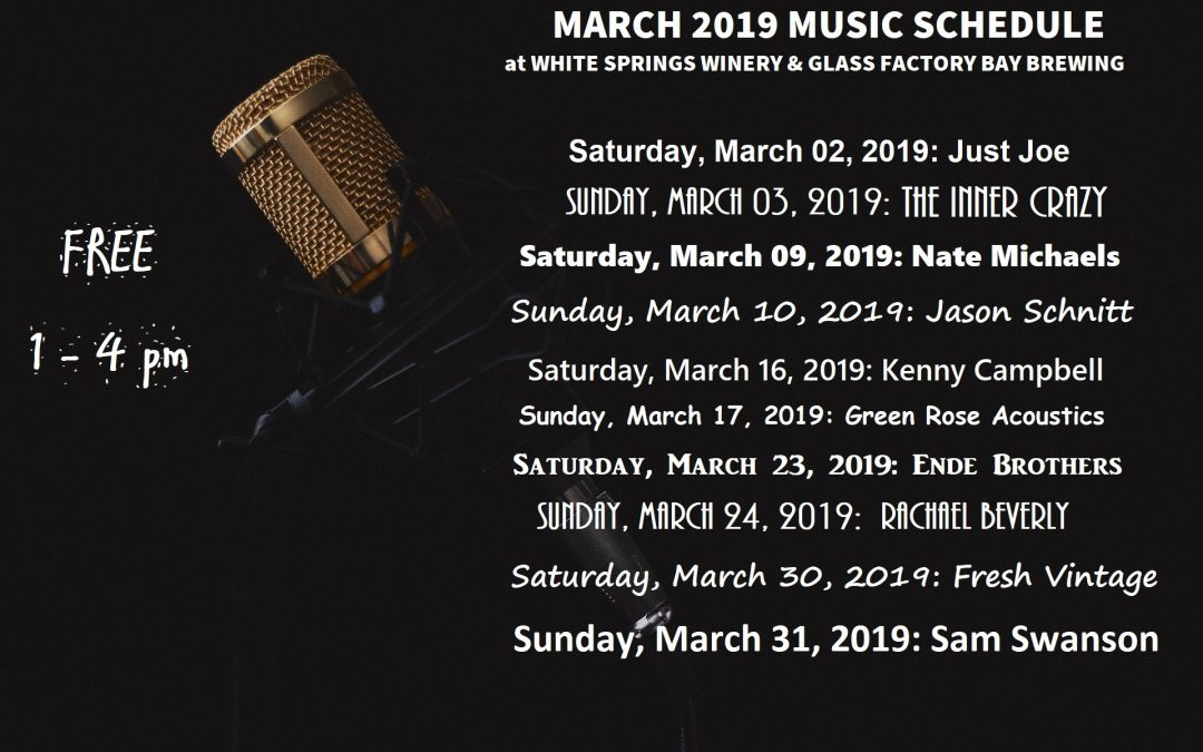 March 2019 Music Schedule