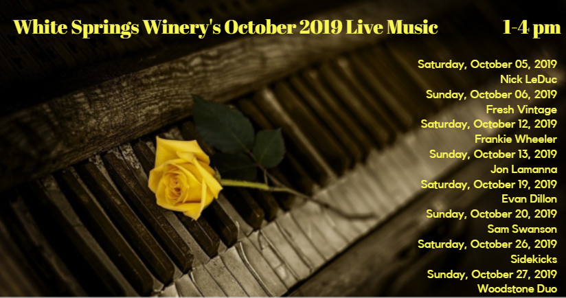 Saturday, October 05, 2019 - Nick LeDuc Sunday, October 06, 2019 - Fresh Vintage Saturday, October 12, 2019 - Frankie Wheeler Sunday, October 13, 2019 - Jon Lamanna Saturday, October 19, 2019 - Evan Dillon Sunday, October 20, 2019 - Sam Swanson Saturday, October 26, 2019 - Sidekicks Sunday, October 27, 2019 - Woodstone Duo